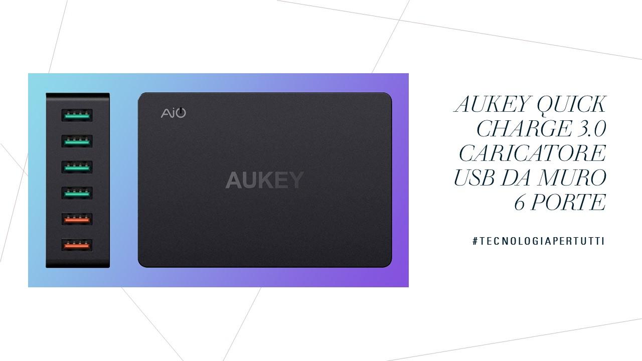 AUKEY Quick Charge 3.0 Caricatore USB da Muro 6 Porte
