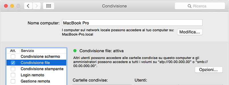 Condividere file tra Mac e Windows 10 senza utilizzare alcun software
