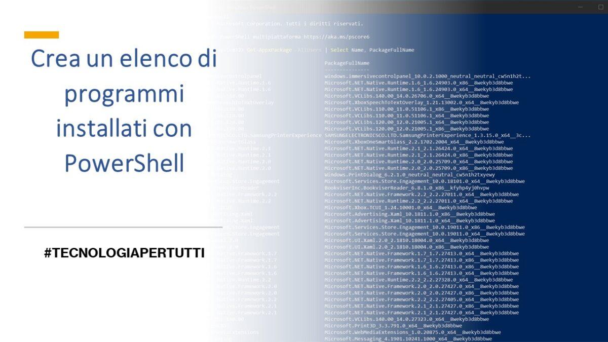 Crea un elenco di programmi installati con PowerShell