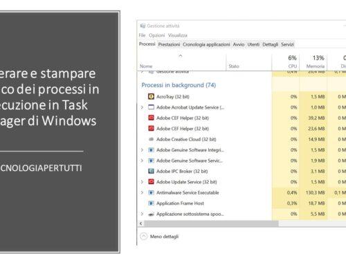 Generare e stampare l'elenco dei processi in esecuzione in Task Manager di Windows