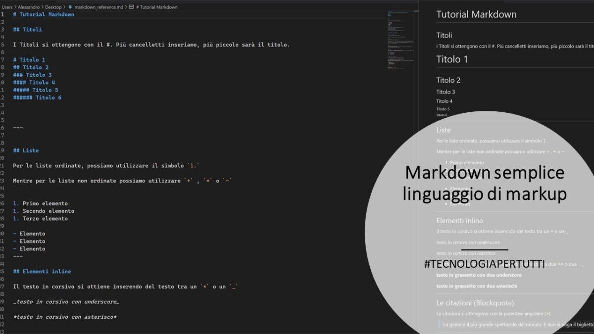 Markdown semplice linguaggio di markup