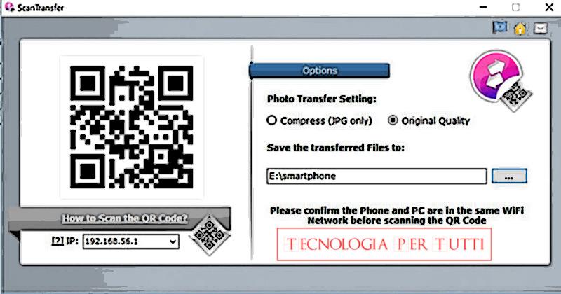 Trasferire le foto dal telefono al PC tramite Wi-Fi